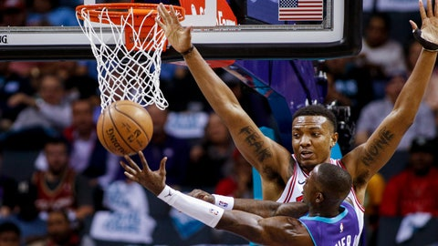<p>               Charlotte Hornets guard Terry Rozier, front, shoots against Chicago Bulls center Wendell Carter Jr. during the first half of an NBA basketball game in Charlotte, N.C., Wednesday, Oct. 23, 2019. (AP Photo/Nell Redmond)             </p>