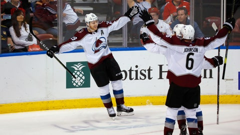 <p>               Colorado Avalanche center Nathan MacKinnon (29) celebrates with teammates after he scored in overtime of the team's NHL hockey game against the Florida Panthers, Friday, Oct. 18, 2019 in Sunrise, Fla. The Avalanche won 5-4. (AP Photo/Wilfredo Lee)             </p>