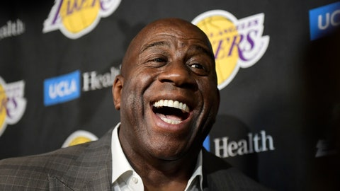 <p>               FILE - In this April 9, 2019, file photo, Magic Johnson speaks to reporters prior to an NBA basketball game between the Los Angeles Lakers and the Portland Trail Blazer in Los Angeles. Johnson might actually miss the Lakers if he was not always checking up on them. Johnson quit as the team's president of basketball operations at the end of the last season, leaving him out of a gym, but not out of the loop, as Los Angeles opened training camp. (AP Photo/Mark J. Terrill, File)             </p>