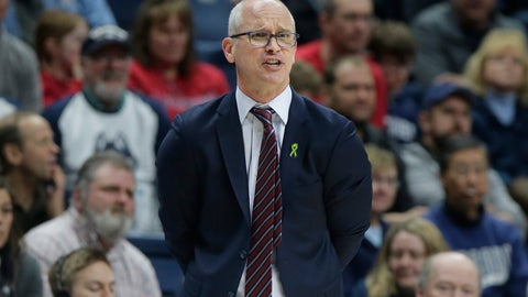 <p>               FILE - In this March 3, 2019, file photo, Connecticut head coach Dan Hurley shouts from the bench during the second half of an NCAA college basketball game against South Florida, in Storrs, Conn. Hurley expects UConn to be better this season, the second in the coach's effort to rebuild the storied program back to national prominence. That doesn't mean that Connecticut, which went 16-17 a year ago, will compete for a fifth national championship, but it should mean the Huskies will win more games than they lose. That's something UConn has not done since 2015-16. (AP Photo/Steven Senne, File)             </p>