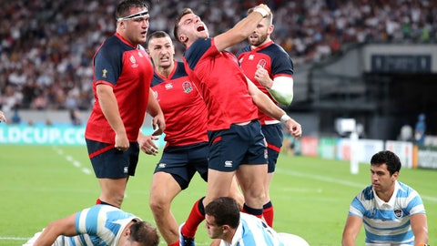 <p>               England's George Ford celebrates after scoring a try during the Rugby World Cup Pool C game at Tokyo Stadium between England and Argentina in Tokyo, Japan, Saturday, Oct. 5, 2019. (AP Photo/Eugene Hoshiko)             </p>