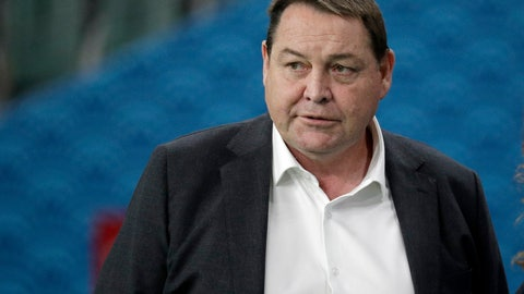 <p>               FILE - In this Oct. 2, 2019, file photo, All Blacks coach Steve Hansen watches his players warm up ahead of the Rugby World Cup Pool B game at Oita Stadium between New Zealand and Canada in Oita, Japan. Of the eight teams remaining in the Rugby World Cup four are coached by New Zealanders who, from similar beginnings, pursued divergent coaching careers before their paths intersected at this tournament. (AP Photo/Aaron Favila, File)             </p>