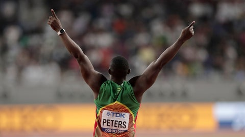 <p>               Anderson Peters, of Grenada reacts on his way to winning the gold medal in the men's javelin throw final at the World Athletics Championships in Doha, Qatar, Sunday, Oct. 6, 2019. (AP Photo/Nariman El-Mofty)             </p>
