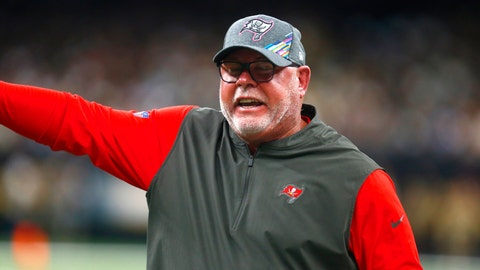 <p>               Tampa Bay Buccaneers head coach Bruce Arians calls out form the sideline in the first half of an NFL football game against the New Orleans Saints in New Orleans, Sunday, Oct. 6, 2019. (AP Photo/Butch Dill)             </p>