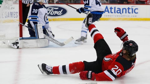 <p>               Winnipeg Jets goaltender Laurent Brossoit (30) reacts after a goal scored by New Jersey Devils center Blake Coleman (20) during the second period of an NHL hockey game Friday, Oct. 4, 2019, in Newark, N.J. (AP Photo/Noah K. Murray)             </p>