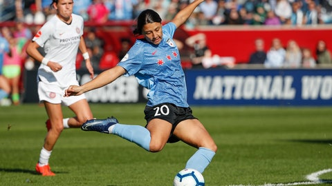 <p>               Chicago Red Stars forward Sam Kerr scores against the Portland Thorns FC during the first half of an NWSL playoffs semi-final soccer match Sunday, Oct. 20, 2019, in Bridgeview, Ill. (AP Photo/Kamil Krzaczynski)             </p>