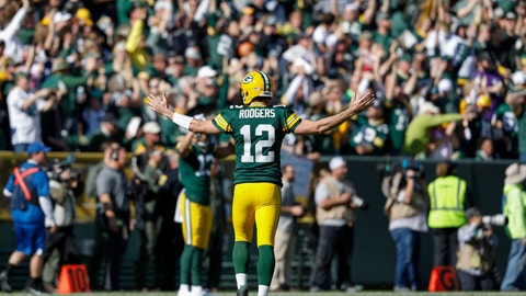 <p>               Green Bay Packers' Aaron Rodgers reacts after throwing a touchdown pass to Jake Kumerow during the first half of an NFL football game against the Oakland Raiders Sunday, Oct. 20, 2019, in Green Bay, Wis. (AP Photo/Jeffrey Phelps)             </p>