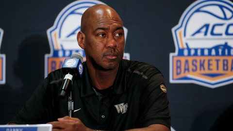 <p>               Wake Forest coach Danny Manning listens to a question during the Atlantic Coast Conference NCAA college basketball media day in Charlotte, N.C., Tuesday, Oct. 8, 2019. (AP Photo/Nell Redmond)             </p>