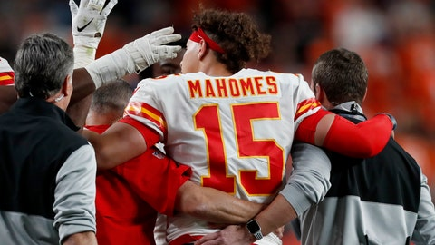 <p>               Kansas City Chiefs quarterback Patrick Mahomes (15) leaves the game after getting injured against the Denver Broncos during the first half of an NFL football game, Thursday, Oct. 17, 2019, in Denver. (AP Photo/David Zalubowski)             </p>