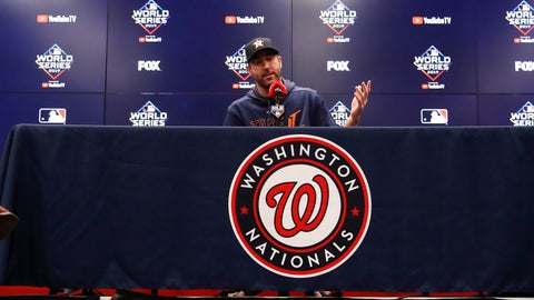 <p>               Houston Astros starting pitcher Justin Verlander speaks during a news conference before Game 5 of the baseball World Series against the Washington Nationals Sunday, Oct. 27, 2019, in Washington. (AP Photo/Alex Brandon)             </p>
