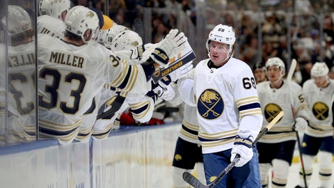 <p>               Buffalo Sabres left wing Victor Olofsson (68) celebrates after scoring a goal during the first period of an NHL hockey game against the New Jersey Devils, Saturday, Oct. 5, 2019, in Buffalo, N.Y. (AP Photo/Bryan Bennett)             </p>