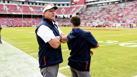<p>               Auburn coach Gus Malzahn watches as the final seconds run off the clock against Arkansas in the second half of an NCAA college football game, Saturday, Oct. 19, 2019 in Fayetteville, Ark. (AP Photo/Michael Woods)             </p>
