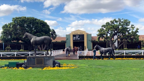 <p>               FILE - In this March 28, 2019, file photo, horses are led to paddocks past the Seabiscuit statue during workouts at Santa Anita Park in Arcadia, Calif. A 3-year-old gelding was fatally injured in the fifth race at Santa Anita on Saturday, becoming the 34th horse to die at the track since December. According to a statement from track owner The Stronach Group, jockey Ruben Fuentes pulled up Satchel Paige at the three-eighths pole of the 6 1/2-furlong sprint. Track veterinarian Dr. Dana Stead saw that the gelding had sustained an open fracture of his left front ankle and decided to euthanize him. (AP Photo/Amanda Lee Myers, File)             </p>