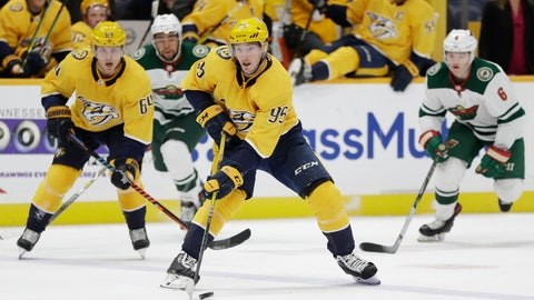 <p>               Nashville Predators center Matt Duchene (95) moves the puck against the Minnesota Wild during the second period of an NHL hockey game Thursday, Oct. 3, 2019, in Nashville, Tenn. (AP Photo/Mark Humphrey)             </p>