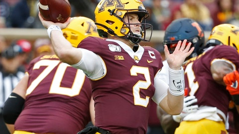 <p>               Minnesota quarterback Tanner Morgan (2) passes against Illinois in the first quarter at an NCAA college football game Saturday, Oct. 5, 2019, in Minneapolis. (AP Photo/Bruce Kluckhohn)             </p>