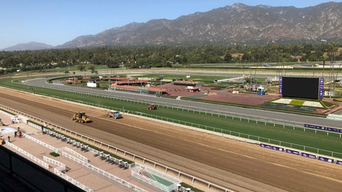 <p>               The track is prepared at Santa Anita Park in Arcadia, Calif., Wednesday, Oct. 30, 3019.  A tragic, wild and unusual year in horse racing culminates with the Breeders' Cup world championships this weekend at Santa Anita, where the fatalities have prompted investigations, outrage from the public, and animal rights activists demanding the end of racing in California. (AP Photo/Beth Harris)             </p>