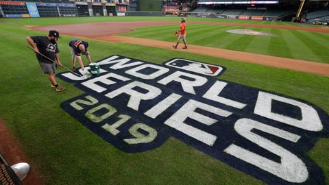 <p>               Houston Astros grounds crew members Jake Cooley, left, and Trey Feltch repaint the World Series logo for the baseball World Series at Minute Maid Park, Monday, Oct. 28, 2019. The Astros will play the Washington Nationals in Game 6 on Tuesday. (AP Photo/Eric Gay)             </p>