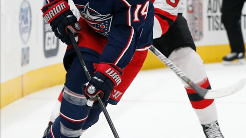 <p>               Columbus Blue Jackets' Gustav Nyquist, left, of Sweden, carries the puck past New Jersey Devils' Pavel Zacha, of the Czech Republic, during the second period of an NHL preseason hockey game Friday, Sept. 27, 2019, in Columbus, Ohio. (AP Photo/Jay LaPrete)             </p>