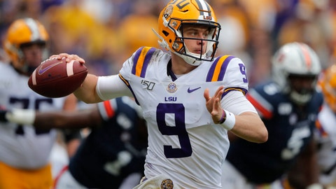 <p>               LSU quarterback Joe Burrow (9) scrambles in the first half of an NCAA college football game against the Auburn in Baton Rouge, La., Saturday, Oct. 26, 2019. (AP Photo/Gerald Herbert)             </p>