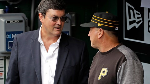 <p>               Pittsburgh Pirates Chairman Robert Nutting, left, talks with Pittsburgh Pirates interim manager Tom Prince in the dugout after the firing of manager Clint Hurdle before the final baseball game of the season against the Cincinnati Reds in Pittsburgh, Sunday, Sept. 29, 2019. The Reds won 3-1. (AP Photo/Gene J. Puskar)             </p>