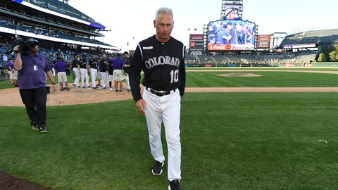 <p>               Colorado Rockies manager Bud Black (10) walks off the field after their win over the Milwaukee Brewers 4-3 in 13 innings at a baseball game Sunday, Sept. 29, 2019, in Denver. (AP Photo/John Leyba)             </p>