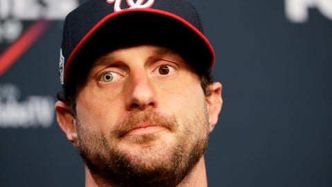 <p>               Washington Nationals starting pitcher Max Scherzer speaks during a news conference for baseball's World Series Monday, Oct. 21, 2019, in Houston. The Houston Astros face the Washington Nationals in Game 1 on Tuesday. (AP Photo/Eric Gay)             </p>