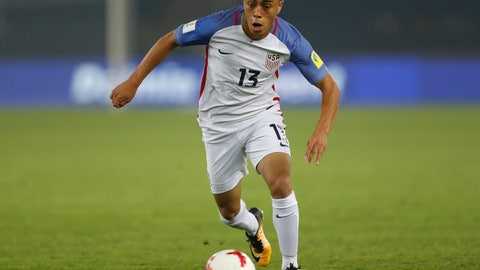 <p>               FILE - In this Monday, Oct. 16, 2017 file photo, Sergino Dest of the U.S controls the ball during the FIFA U-17 World Cup match against Paraguay in New Delhi, India. Ajax right back Sergino Dest has pledged his international future to the United States. The 18-year-old, who has a Surinamese-American father and Dutch mother, put an end Monday, Oct 28, 2019 to intense speculation about whether he would choose to play for the United States or the Netherlands, his country of birth.  (AP Photo/Tsering Topgyal)             </p>