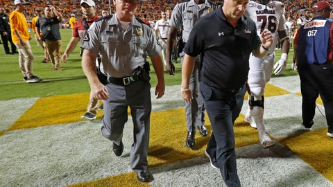 <p>               South Carolina head coach Will Muschamp leaves the field after their 41-21 loss to Tennessee in an NCAA college football game Saturday, Oct. 26, 2019, in Knoxville, Tenn. (AP Photo/Wade Payne)             </p>