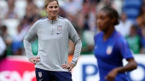 <p>               FILE - In this July 7, 2019, file photo, United States coach Jill Ellis, left, watches the players warm-up before the Women's World Cup final soccer match against the Netherlands at the Stade de Lyon in Decines, outside Lyon, France. The two-time FIFA women's coach of the year will lead the World Cup champions women's national team against South Korea in her final game before retiring on Sunday in Chicago.  (AP Photo/Francisco Seco, File)             </p>