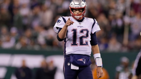 <p>               New England Patriots quarterback Tom Brady (12) points to Benjamin Watson (84) after a play during the first half of an NFL football game against the New York Jets, Monday, Oct. 21, 2019, in East Rutherford, N.J. (AP Photo/Adam Hunger)             </p>