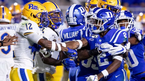 <p>               Pittsburgh's Paris Ford (12) and Duke's Javon Jackson (2) scuffle after a play during an NCAA college football game in Durham, N.C., Saturday, Oct. 5, 2019. (AP Photo/Ben McKeown)             </p>