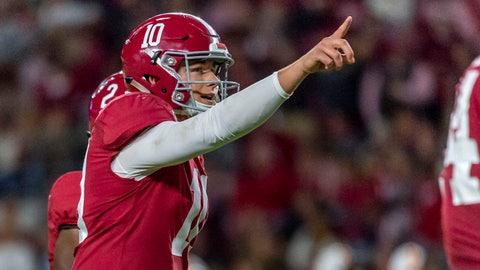 <p>               Alabama quarterback Mac Jones signals during the second half of the team's NCAA college football game against Tennessee on Saturday, Oct. 19, 2019, in Tuscaloosa, Ala. (AP Photo/Vasha Hunt)             </p>