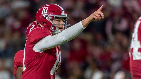 <p>               Alabama quarterback Mac Jones signals during the second half of the team's NCAA college football game against Tennessee on Saturday, Oct. 19, 2019, in Tuscaloosa, Ala. (AP Photo/Vasha Hunt)             </p>