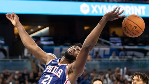 <p>               Philadelphia 76ers center Joel Embiid (21) tries to rebound the ball during the first half of a preseason NBA basketball game against Orlando Magic in Orlando, Fla., Sunday, Oct. 13, 2019. (AP Photo/Willie J. Allen Jr.)             </p>