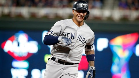 <p>               New York Yankees' Gleyber Torres celebrates as he runs the bases after hitting a home run during the second inning in Game 3 of a baseball American League Division Series against the Minnesota Twins, Monday, Oct. 7, 2019, in Minneapolis. (AP Photo/Bruce Kluckhohn)             </p>