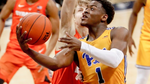 <p>               FILE—In this file photo from Feb. 2, 2019, Pittsburgh's Xavier Johnson (1) shoots against Syracuse in an NCAA college basketball game in Pittsburgh. Johnson set a Pitt freshman scoring record last season while also being the only player in the ACC to average at least 15.5 points and 4.5 assists per game. New head coach Jeff Capel's first season at Pittsburgh brought optimism. Now comes the hard part: building off it while playing in arguably the nation's toughest conference. (AP Photo/Keith Srakocic, File)             </p>