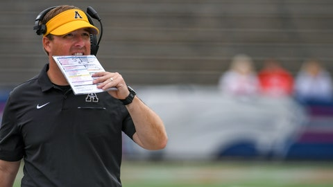 <p>               Appalachian State head coach Eliah Drinkwitz paces the sidelines during the second half of an NCAA college football game against South Alabama, Saturday, Oct. 26, 2019, at Ladd-Peebles Stadium in Mobile, Ala. (AP Photo/Julie Bennett)             </p>