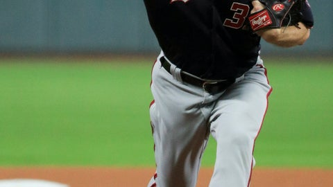 <p>               Washington Nationals starting pitcher Max Scherzer throws against the Houston Astros during the first inning of Game 7 of the baseball World Series Wednesday, Oct. 30, 2019, in Houston. (AP Photo/Mike Ehrmann, Pool)             </p>