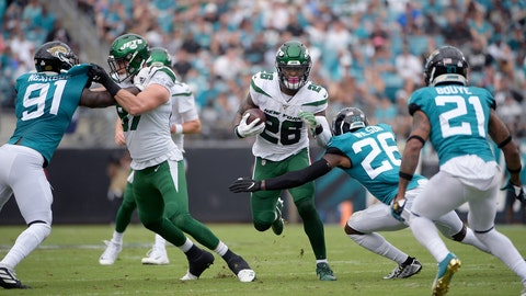 "<p>               FILE - In this Oct. 27, 2019, file photo, New York Jets running back Le'Veon Bell (26) rushes for yardage in front of Jacksonville Jaguars defensive back Jarrod Wilson (26), defensive end Yannick Ngakoue (91) and cornerback A.J. Bouye (21) during the first half of an NFL football game in Jacksonville, Fla. Bell didn't like how little he was used in the 29-15 loss at Jacksonville, and Bell needed to make sure Jets coach Adam Gase knew what he was feeling. ""I was a little frustrated,"" Bell said Thursday. ""I'm always frustrated at a loss, but this was a little different because I wasn't involved and we lost."" Bell carried the ball eight times for 23 yards and had three catches for 12 yards. (AP Photo/Phelan M. Ebenhack, File)             </p>"