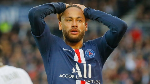 <p>               PSG's Neymar react after missing a goal opportunity during French League One soccer match between PSG and Angers at the Parc des Princes stadium in Paris, Saturday, Oct. 5, 2019. (AP Photo/Michel Euler)             </p>