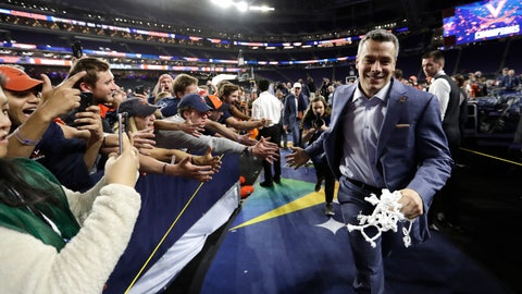 <p>               FILE- In this April 8, 2019, file photo, Virginia head coach Tony Bennett celebrates with fans after the championship game against Texas Tech in the Final Four NCAA college basketball tournament. (AP Photo/David J. Phillip, File)             </p>