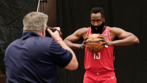 <p>               Houston Rockets' James Harden is photographed during NBA basketball media day Friday, Sept. 27, 2019, in Houston. (AP Photo/Michael Wyke)             </p>