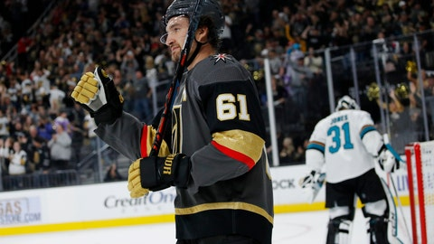 <p>               Vegas Golden Knights right wing Mark Stone (61) celebrates after scoring against the San Jose Sharks during the second period of an NHL preseason hockey game Sunday, Sept. 29, 2019, in Las Vegas. (AP Photo/John Locher)             </p>