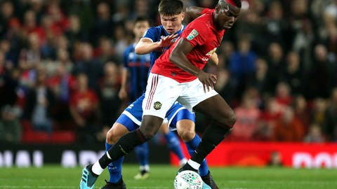 <p>               Rochdale's Aaron Morley, left, and Manchester United's Paul Pogba battle for the ball during their English League Cup, Third Round soccer match at Old Trafford, Manchester, England, Wednesday, Sept. 25, 2019. (Richard Sellers/PA via AP)             </p>