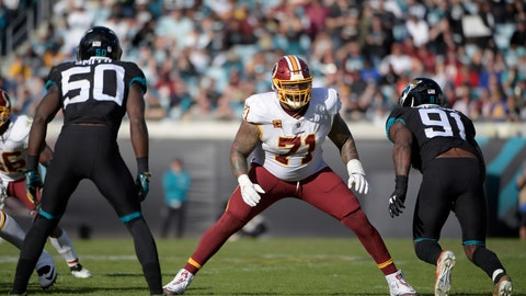 """<p>               FILE - In this Dec. 16, 2018, file photo,Washington Redskins offensive tackle Trent Williams (71) sets up to block in front of Jacksonville Jaguars defensive end Yannick Ngakoue (91) during the second half of an NFL football game in Jacksonville, Fla. Browns general manager John Dorsey acknowledged having """"a few conversations"""" lately with Redskins GM Bruce Allen. With the trading deadline approaching, Dorsey could be tempted to improve Cleveland's offensive line and the Redskins are at an impasse with seven-time Pro Bowl left tackle Trent Williams, who hasn't played this season due to a contract holdout. As he finished his news conference Wednesday, Oct. 16, 2019, Dorsey was asked if he has asked Allen about trading Williams.""""It takes two to tango,"""" Dorsey said as he left the podium.(AP Photo/Phelan M. Ebenhack, File)             </p>"""