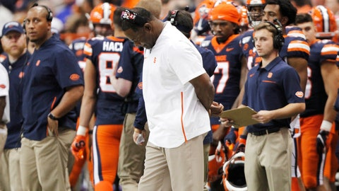<p>               Syracuse coach Dino Babers looks down in the final minutes of the team's NCAA college football game against Pittsburgh in Syracuse, N.Y., Friday, Oct. 18, 2019. Pittsburgh won 27-20. (AP Photo/Nick Lisi)             </p>