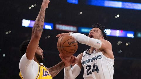 <p>               Memphis Grizzlies guard Dillon Brooks, right, draws a foul from Los Angeles Lakers forward Anthony Davis during the first half of an NBA basketball game in Los Angeles, Tuesday, Oct. 29, 2019. (AP Photo/Kyusung Gong)             </p>