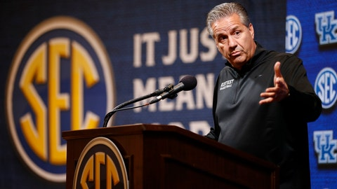 <p>               Kentucky head coach John Calipari speaks during the Southeastern Conference NCAA college basketball media day, Wednesday, Oct. 16, 2019, in Birmingham, Ala. (AP Photo/Butch Dill)             </p>