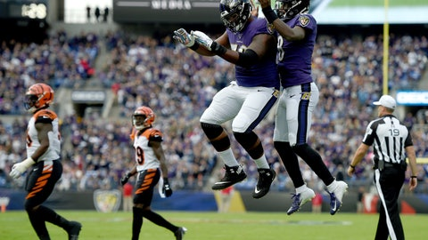<p>               Baltimore Ravens offensive tackle Ronnie Stanley, left, and quarterback Lamar Jackson celebrate Jackson's touchdown run against the Cincinnati Bengals during the first half of a NFL football game Sunday, Oct. 13, 2019, in Baltimore. (AP Photo/Gail Burton)             </p>