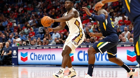 <p>               New Orleans Pelicans forward Zion Williamson (1) drives past Utah Jazz forward Jeff Green (22) during the first half of a preseason NBA basketball game in New Orleans, Friday, Oct. 11, 2019. (AP Photo/Tyler Kaufman)             </p>
